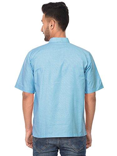 Di Cielo Moda Yoga Della Kurta Abbigliamento Indiana Mens Di Camicia Manica Casuale Camicia Corta Cotone Blu wzn1Bxv6Bq
