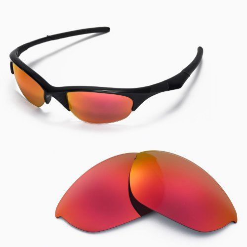 Walleva Replacement Lenses for Oakley Half Jacket Sunglasses - Multiple Options Available (Fire Red Mirror Coated - - Lens Sunglasses Replacement