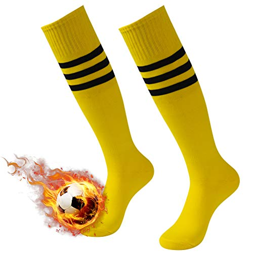 Breathable Soccer Socks, 3street Unisex Knee High/Over Calf Sport Athletic Wicking Moisture Long Tube Baseball Running Socks Back to School Boys Gift Bright Yellow 2 Pairs]()