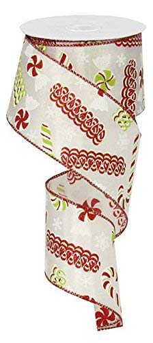 "Satin Ribbon Candy Christmas Wired Edge Ribbon - 2.5"" x 10 yards (White)"