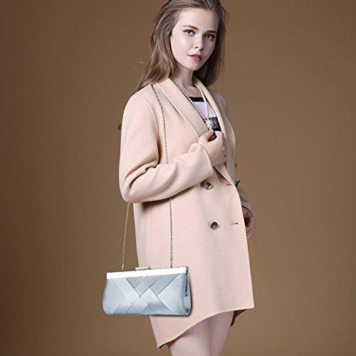 For Wedding Clutch Strap Women Purse Satin Blue Light Evening With Handbag Chain Bag Bidear Party 41PYqxn