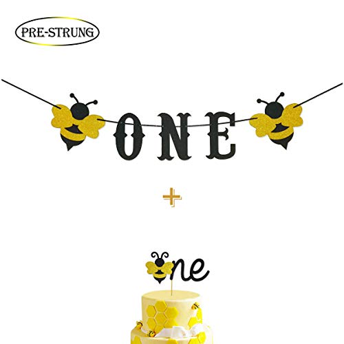 Bumble Bee Smash Cake Kit First Birthday Glitter One Banner Highchair Banner with Glitter Bumble Bee One Cake Topper for Bee 1st Birthday Supplies Decorations