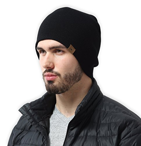 Daily Knit Beanie by Tough Headwear - Warm, Stretchy & Soft Beanie Hats for Men & Women - Year Round Comfort - Serious Beanies for Serious Style Black - Male Hats For Face Round