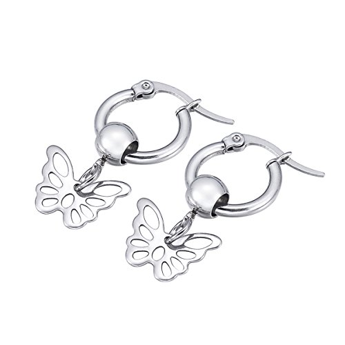 1 Pair High Polished Filigree Butterfly Pendant Hoop Earrings Stainless Steel for Women Girls