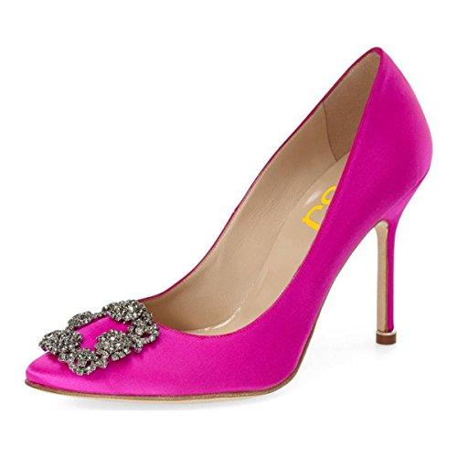 FSJ Women Jeweled Pointy Toe Stiletto High Heels Evening Dress Pumps Rhinestones Satin Wedding Shoes Size 8.5 Fuchsia