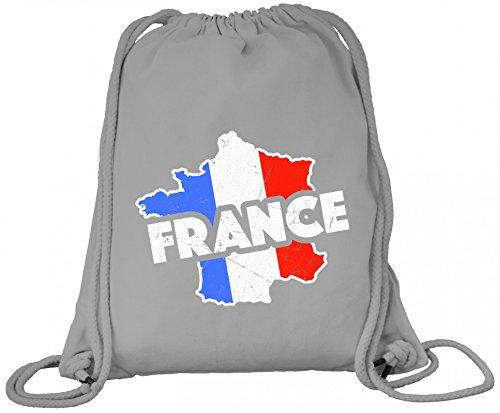 ShirtStreet France Fußball WM Fanfest Gruppen Premium Bio Baumwoll Turnbeutel Rucksack Stanley Stella Land Frankreich Heather Grey BFYRA71hW