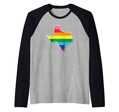 - Rainbow Texas Gay Pride Flag Vintage Raglan Baseball Tee