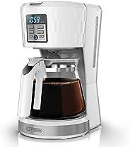 Cafetera Programable Black+Decker All White Jarra de Vidrio para 12 Tazas con Filtro Permanente