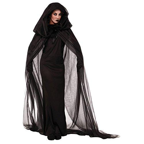 Mengjie Holloween Costume Night Wandering Soul Female Ghost Dress Witch Dress, Black, XXL -