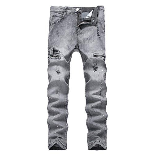 Pantalones Vaqueros Hombre Desgarrar Agujeros Jeans Algodón Pernera Recta Vaqueros Azul,Vaqueros para hombre Straight Fit con estilo desgastado Gris