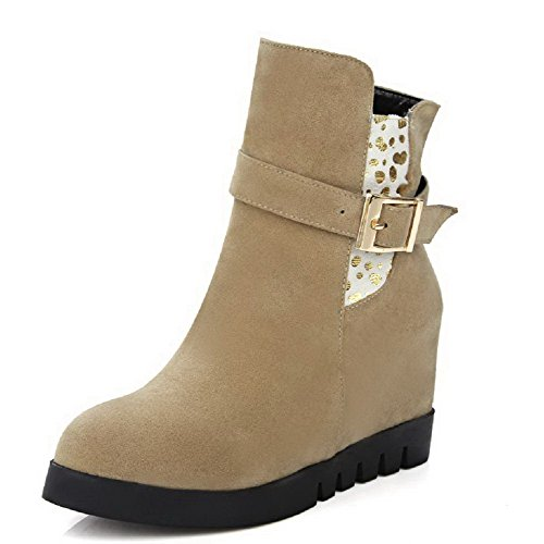 AmoonyFashion Womens Solid High-Heels Round Closed Toe Imitated Suede Zipper Boots Apricot Qq3obA1I3