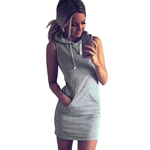 2018 Fashion Womens Summer Casual Sleeveless Dress Hoody by Topunder