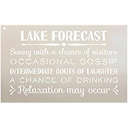 "Lake Forecast - Sunny with a Chance of Visitors Stencil by StudioR12 | Reusable Mylar Template | Use to Paint Wood Signs - Front Door - Entry - Porch - DIY Summer Decor - Select Size (16"" x 10"")"