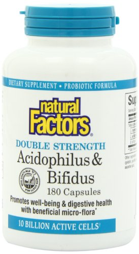 Natural Factors Acidophilus et Bifidus Double Capsules Force, 180-comte