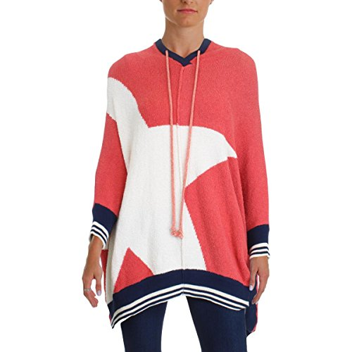 Free People Womens Colorblock Oversized Hooded Sweater Red XS/S