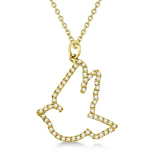 White Dove Necklace - 0.25ct Unique Dove Shaped White Diamond Pendant Necklace For Women 14k Yellow Gold Bird G-H/SI
