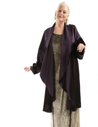 Peggy Lutz Plus Women's Drape Lapel Coat Rayon Satin-XS (14/16)-Aubergine