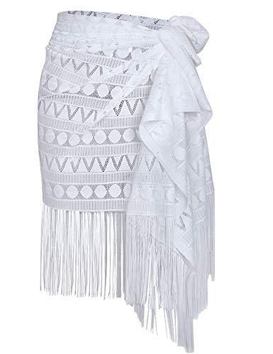 shermie Women's Swimwear Sarong Wrap Swimsuit Skirt Bikini Summer Beach Cover Up with Tassel (One_Size, 005-White)
