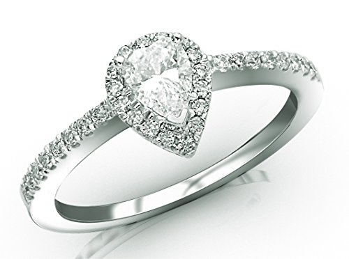 Prong Si2 Clarity Diamonds - Near 1/2 Carat Halo Style Diamond Engagement Ring Pear Cut Shape (F-G Color SI1-SI2 Clarity)