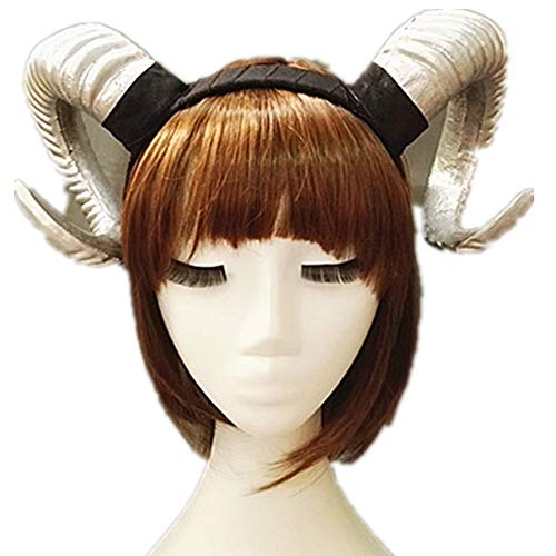 Victorian Sheep Horn Headband Christmas Party Cosplay Horns Headpiece Vintage Steampunk Hair Accessories (Silver)