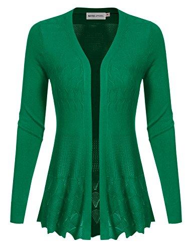 Crochet Knit Sweater - MAYSIX APPAREL Long Sleeve Lightweight Crochet Knit Sweater Open Front Cardigan For Women Kellygreen M