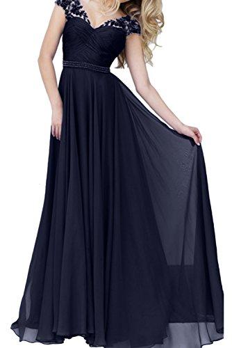 Tintenblau Abendkleider A Damen Ballkleid Ausschnitt V Ivydressing Lang Linie Promkleid q8nzpwHxH