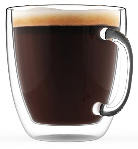Large Coffee Mug, Double Wall Glass 16 oz - Dishwasher & Microwave Safe - Clear, Unique & Insulated with Handle, by Elixir Glassware