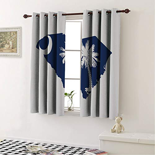 Mozenou Grommet Top Window Curtain Panels South Carolina,The Palmetto State Flag and Map Sabal Palm Tree and Crescent Cobalt Blue and White/Drapes/Panels for Dining Room 108 by 72 in