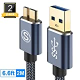 Galaxy S5 Charger, (6.6ft, 2 Pack) USB 3.0 Cable AviBrex USB 3.0 A to Micro B Cable Charger Nylon Braided Cord Compatible Samsung Galaxy Note 3/Pro 12.2,WD Seagate External Hard Drive,Camera etc(Grey)