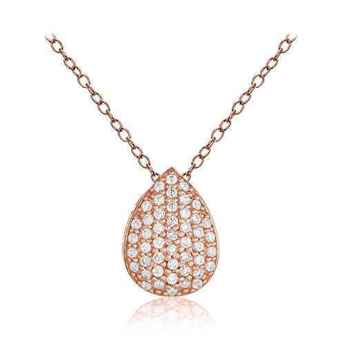 Hoops & Loops Rose Gold Flashed Sterling Silver Cubic Zirconia Teardrop Slide Necklace