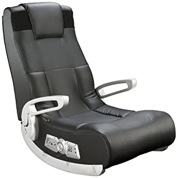 Image of Ace Bayou X Rocker II SE 2.1 Black Leather Floor Video Gaming Chair for Adult, Teen, and Kid Gamers with Armrest and Headrest - High Tech Audio and Wireless Capacity - Ergonomic Back Support Home and Kitchen