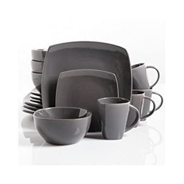 Square Dinnerware Service for 8, Plates Bowls Mugs, 32-Piece Set, Modern Gray