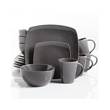 Square Dinnerware Service For 8, Plates Bowls Mugs, 32 Piece Set, Modern