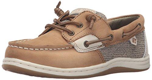 (Sperry Songfish Boat Shoe (Little Kid/Big Kid), Linen/Oat, 13.5 Medium US Little Kid)