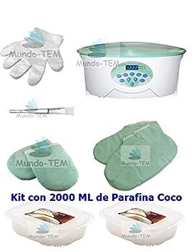 Mundo-TEM® Calentador Fundidor de parafina Digital+ Kit Completo, 2 Kilos de Parafina de Menta, etc. Regalo: Manual breve para el Tratamiento de Parafina. Maystar