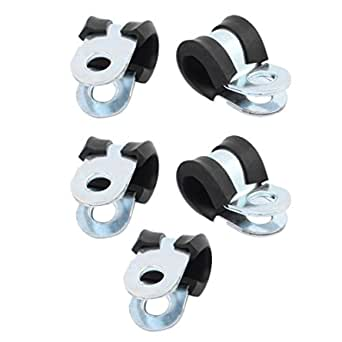 5Pcs 32mm Diameter Rubber Lined R Shaped Zinc Plated Pipe Clips Hose Tube Clamp