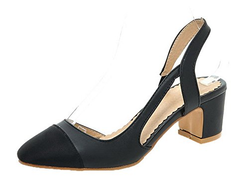 Assorted Pull Black Color Heels Toe On Round Women's WeiPoot PU Kitten Sandals CnF5Oq6