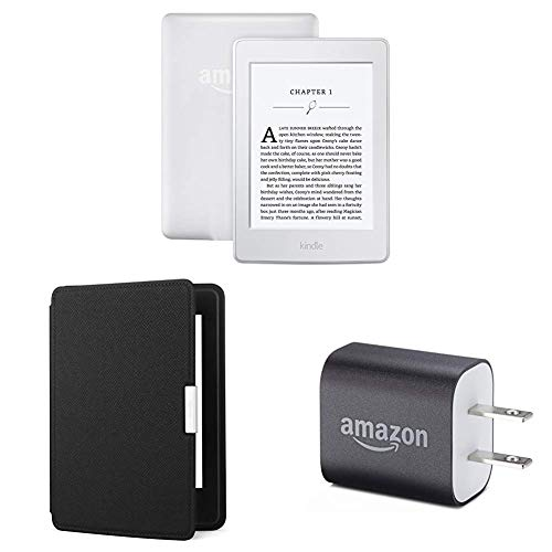 "Kindle Paperwhite Essentials Bundle including Kindle Paperwhite 6"" E-Reader (Previous Generation - 7th), White , Amazon Leather Cover - Onyx Black, and Power Adapter"