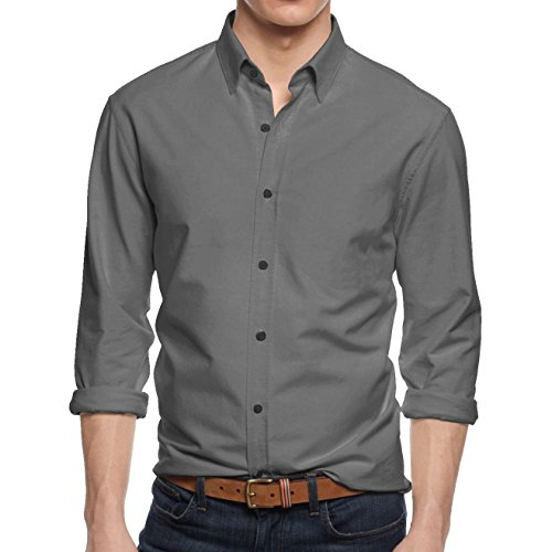 Hat and Beyond Mens Slim Fit Button Down Casual Long Sleeve Dress Shirt - X-Large / 17-17.5 - 1nr01_Dark Gray