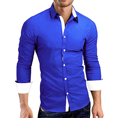 Kirbaez Men's T-Shirt Summer Fashion Long Sleeve Slim Fit Personality Buttons Down Casual Lapel Sport Shirts Tops Blouse Blue