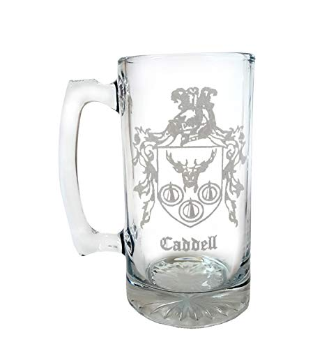 Caddell Irish Family Coat of Arms 27oz Beer Stein: Free Shipping & Personalized Engraving, Family Crest Coats Of Arms Stein