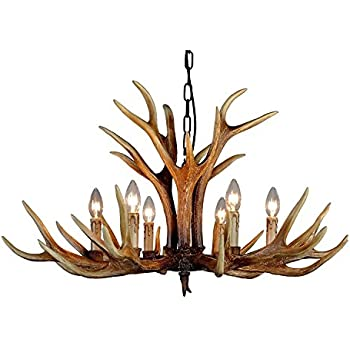 Amazon effortinc antlers vintage style resin 6 light effortinc antlers vintage style resin 6 light chandeliers american rural countryside antler chandeliersliving mozeypictures Images