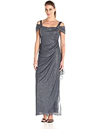Womens Petite Long Dress with Side-Ruched Skirt