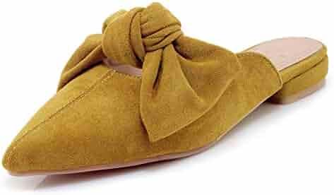 e37349092a0d INSTAR Women s Sweet Bowknot Pointy Toe Low Heel Slip On Low Top Faux Suede Mule  Sandal
