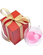 Heart-Shaped Double Walled Insulated Glass Coffee Mug or Tea Cup-8oz(240ml),In Gift Package.