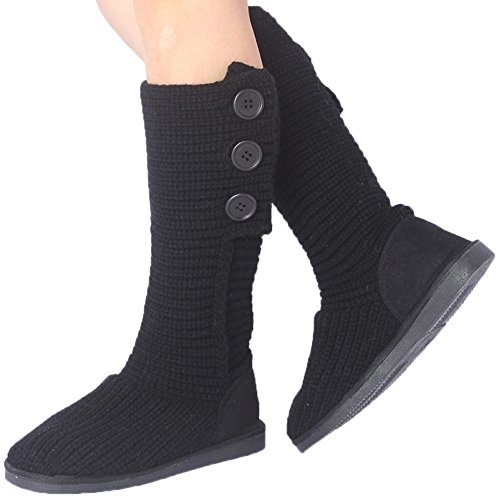 Winter Mid Boots HooH Women Calf Snow Boots Knit Button Black Foldable Boots Warm With tgwqU1xq