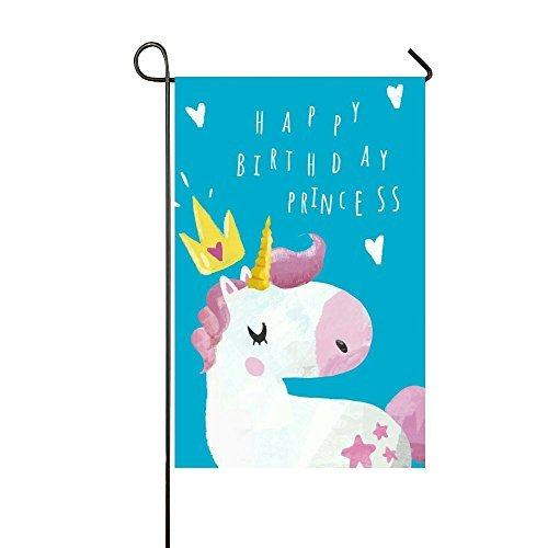 - Small Mim Happy Birthday Princess Yellow Crown Unicorn Garden Flag Holiday Decoration Double Sided Flag 12.5