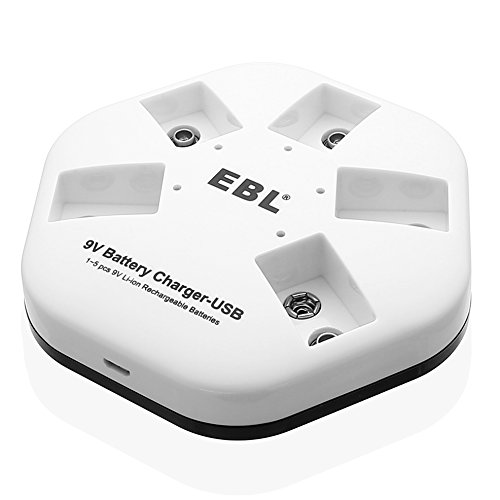 EBL iQuick USB 9V Battery Charger for 9V Lithium-ion Rechargeable Batteries, 5 Bay Smart Charger Individual