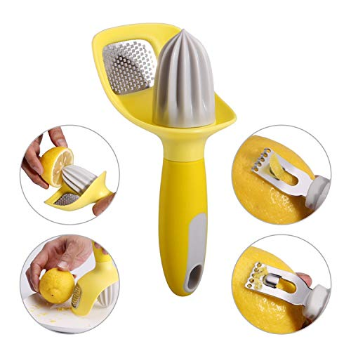 3 in 1 Citrus Tool - Lemon Zester, Channel Knife, Citrus Reamer, Grater - Seed Catcher to Avoid Mess - Soft-Touch Grip - Compact for Easy Storage - Dishwasher Safe - by KITCHENDAO