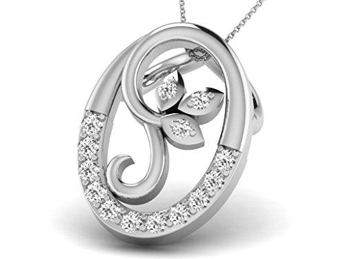 Or Blanc 14 ct Pendentifs Diamant en forme de ovale, 0.06 Ct Diamant, GH-SI, 0.54 grammes.